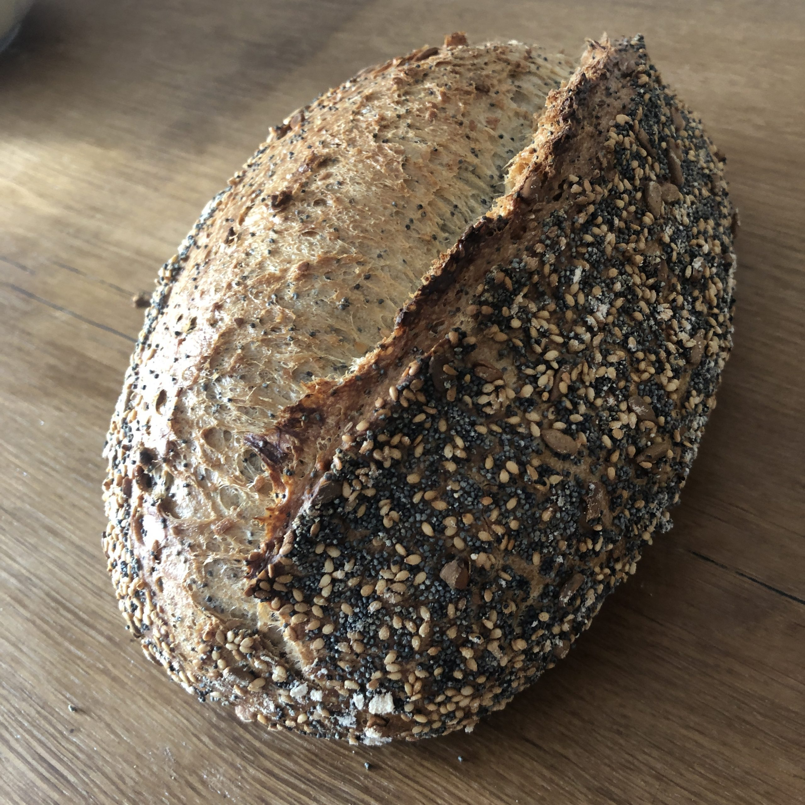 three seeded bread with poolish